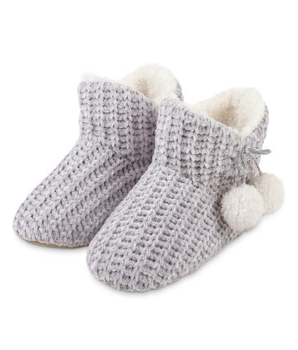 Totes Chenille Ladies Knitted Booties - Grey L