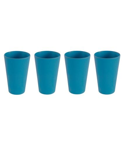 4 Piece Blue Bamboo Tumbler Set
