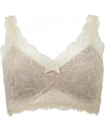 Amoena Melody Pocketed Softcup Lace Bra in Vanilla/Nude