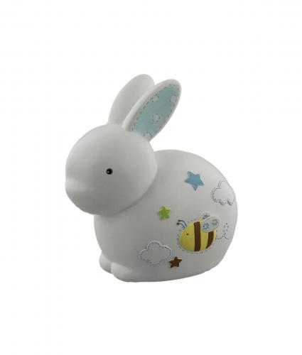 Blue Resin Rabbit Money Bank, Baby Gift, Cancer Research UK