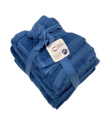 Cotton Bathroom Towel 6-Piece Bale Set - Federal Blue
