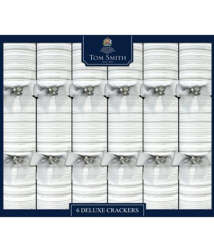 Tom Smith 6 Silver & White Deluxe Christmas Crackers