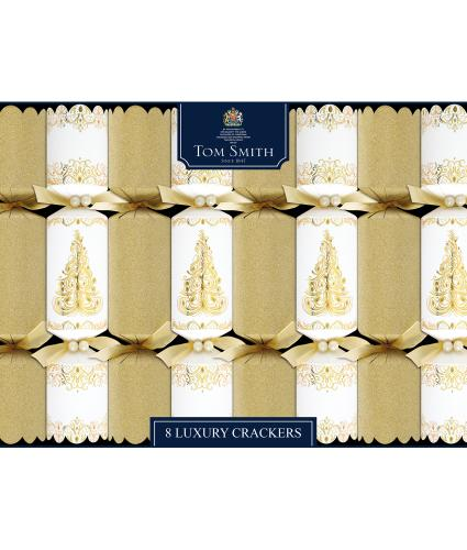 Tom Smith 8 Gold & Cream Luxury Christmas Crackers
