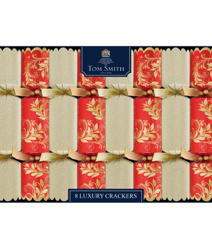 Tom Smith 8 Red & Gold Luxury Christmas Crackers