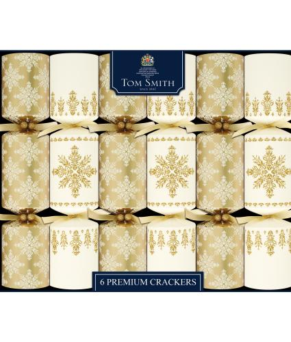 Tom Smith 6 Gold & Cream Snowflake Christmas Crackers