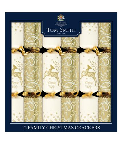 Tom Smith 12 Cream & Gold Family Christmas Crackers