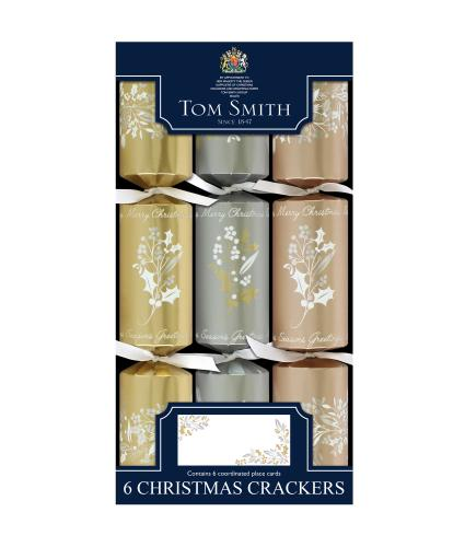 Tom Smith 6 Mixed Metallics Dinner Cube Christmas Crackers