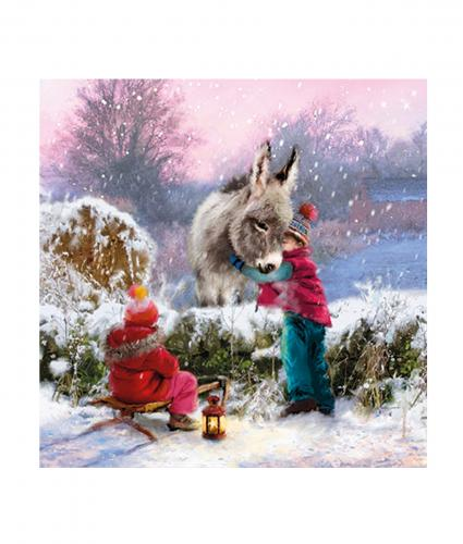 Cancer Research UK, Children and Donkey Christmas Card