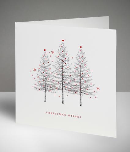 Sparkling Trio Christmas Cards, Pack of 10
