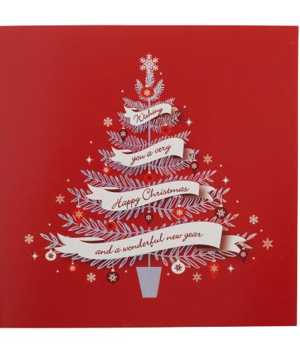 Red and Silver Tree Christmas Cards - Pack of 20