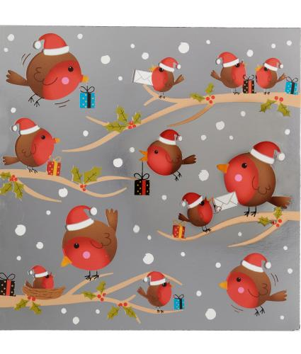 Robins On Branches Christmas Cards - Pack of 20