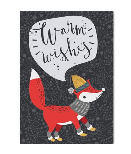Holly Jolly Festive Fox Christmas Card - Pack of 5