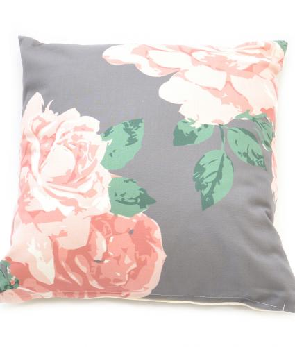 Pink and Grey Large Floral Cushion