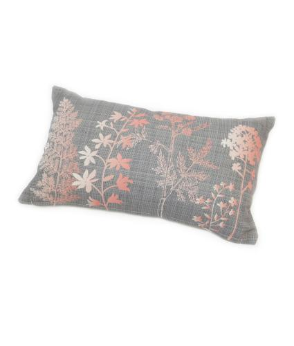 Pink and Grey Floral Bolster Cushion
