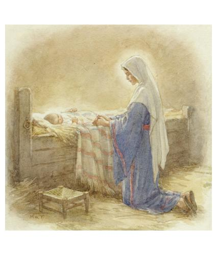 Mary Kneeling by Jesus in the Manger Christmas Cards - Pack of 10
