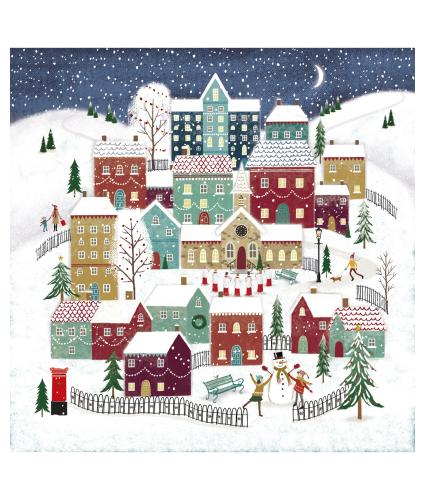 Moonlit Village Christmas Cards - Pack of 10