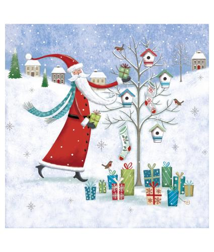 Santa Dressing Tree Christmas Cards - Pack of 10