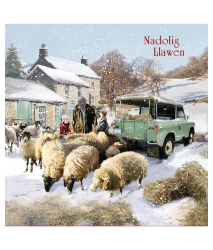 Sheep and Truck Welsh Christmas Cards - Pack of 10
