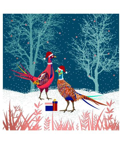 Pair Of Christmas Pheasants Christmas Cards - Pack of 10