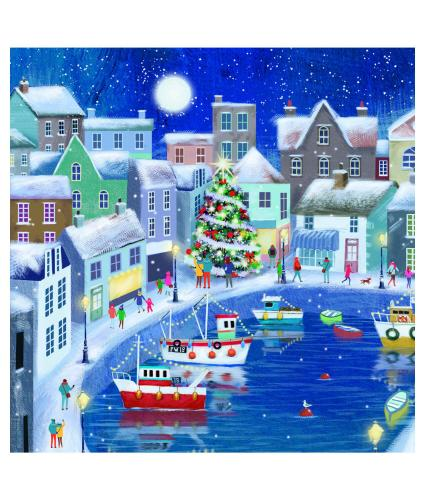 Seaside Village at Christmas Christmas Cards - Pack of 10