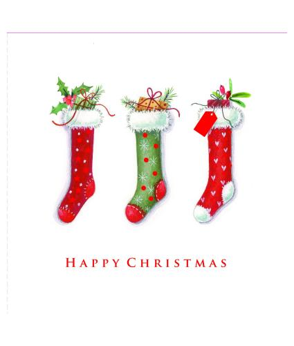 Trio of Trimmed Stockings Christmas Cards - Pack of 10
