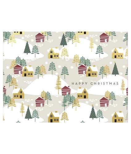 Winter Village Duo Christmas Cards - Pack of 16