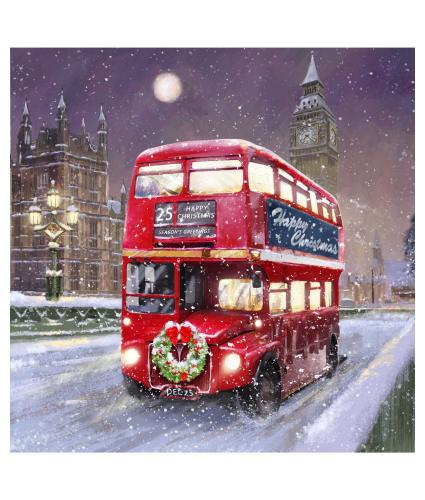 Festive London Bus Christmas Cards - Pack of 10