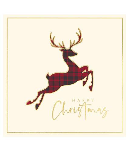Prancing Tartan Stag Christmas Cards - Pack of 10