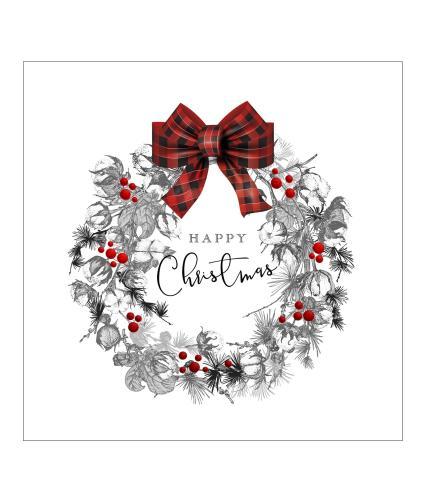 Tartan Bow Wreath Christmas Cards - Pack of 10