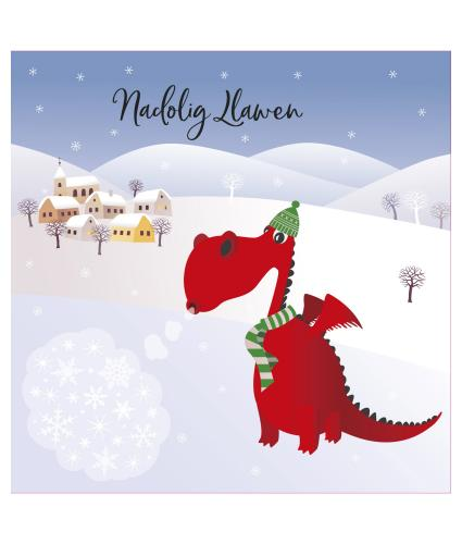 Dylan the Dragon Welsh Bilingual Christmas Cards - Pack of 10