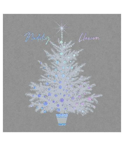 Solo Silver Holo Tree Welsh Bilingual Christmas Cards - Pack of 10