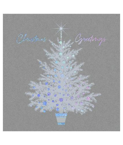 Solo Silver Holographic Tree Christmas Cards - Pack of 20