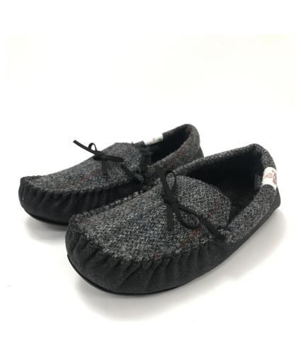 Totes Harris Tweed Moccasin Slippers Grey S