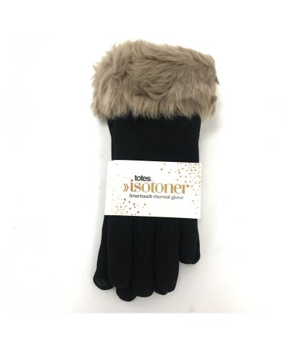 Isotoner Faux Fur Thermal Smart Touch Gloves in Black