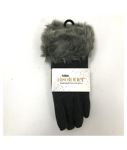 Isotoner Faux Fur Thermal Smart Touch Gloves in Dark Grey