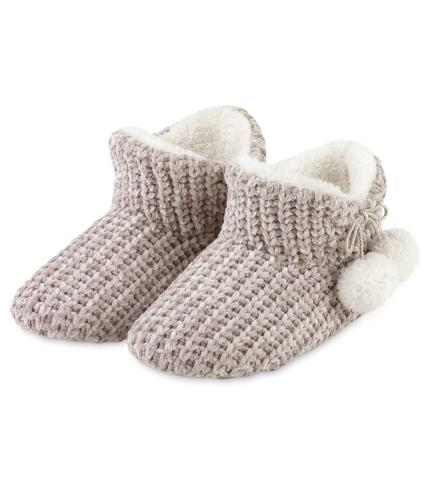 Totes Chenille Ladies Knitted Booties - Pink