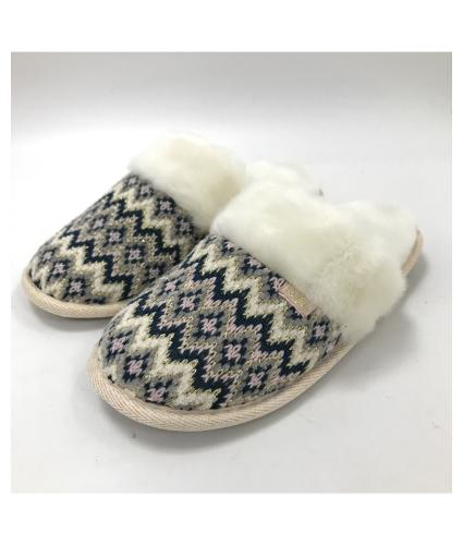 Totes Ladies Fairisle Knitted Mule Slippers