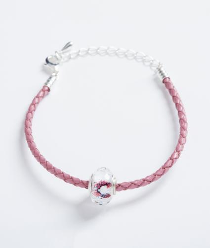 Pink Leather Bracelet with Cancer Research UK Bead
