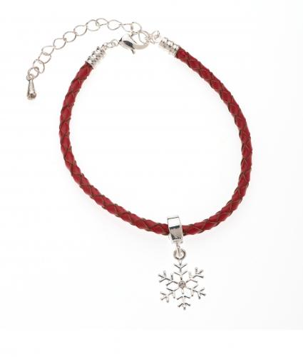 Red Leather Bracelet with Snowflake Charm