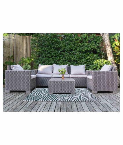 Botanical Design Outdoor Rug - Dark Grey - Small