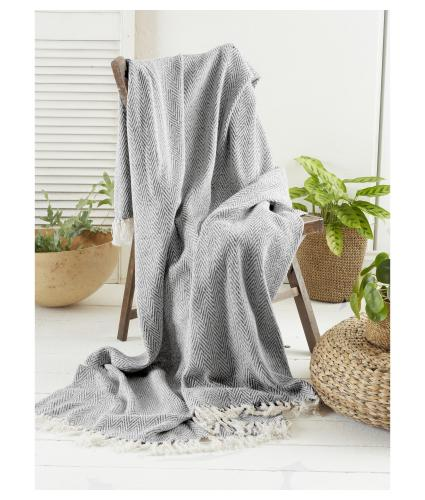 Green Living Collective Recycled Chevron Throw - Grey