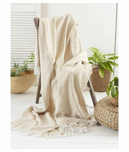 Green Living Collective Recycled Chevron Throw - Ochre