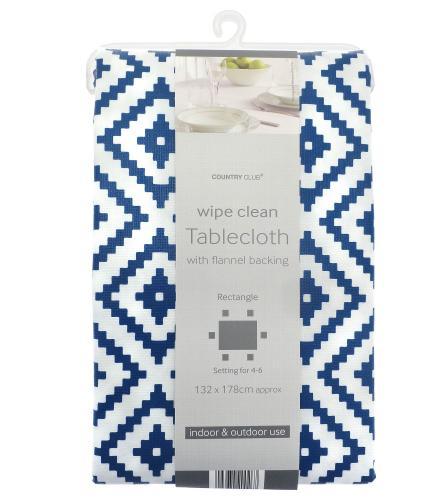 Country Club PVC Tablecloth - Geometric Navy