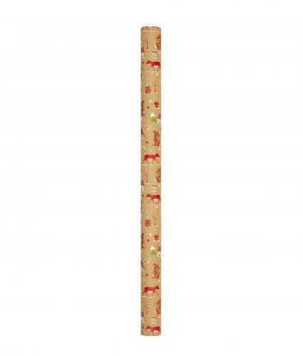 4m Festive Kraft Design Rolled Gift Wrap