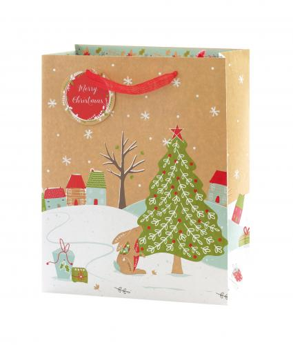 Festive Kraft Design Large Gift Bag