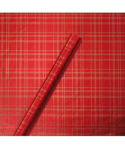 Tom Smith Red & Gold Tartan Wrapping Paper