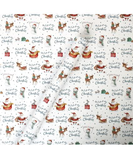 Tom Smith White Santa & Friends Festive Wrapping Paper