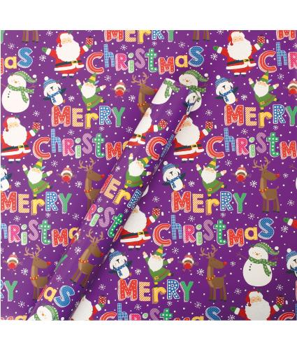 Tom Smith Purple Santa & Friends Wrapping Paper