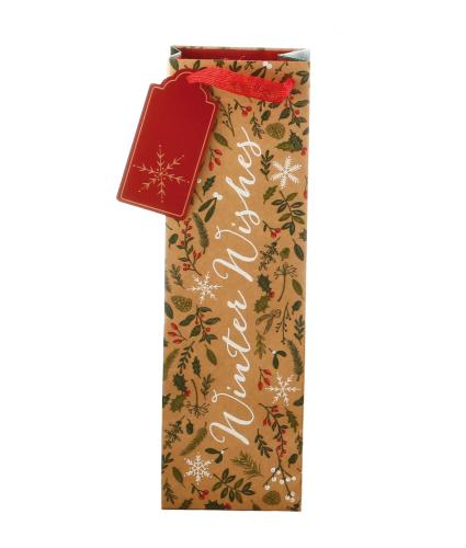 Festive Winter Wishes Bottle Gift Bag