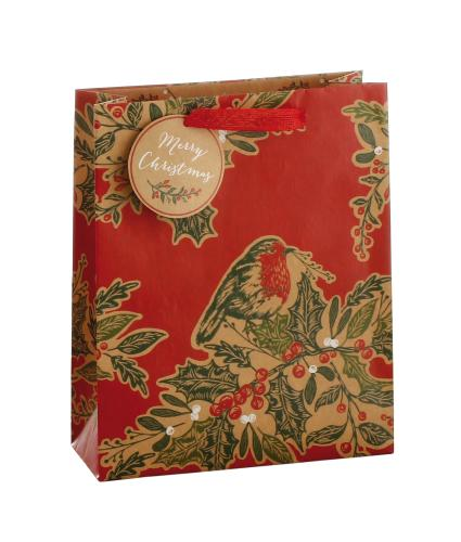 Festive Robin & Holly Gift Bag
